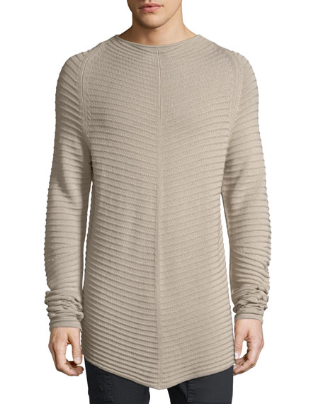 Helmut Lang Shutter Knit Merino Wool-Cotton Long Pullover