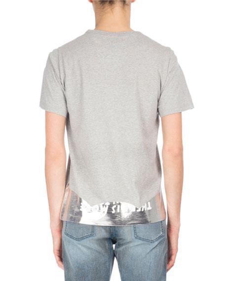 AIDS Awareness Metallic & Slub V-Neck T-Shirt, Beige