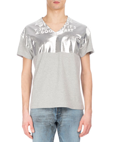 AIDS Awareness Metallic & Slub V-Neck T-Shirt, Beige