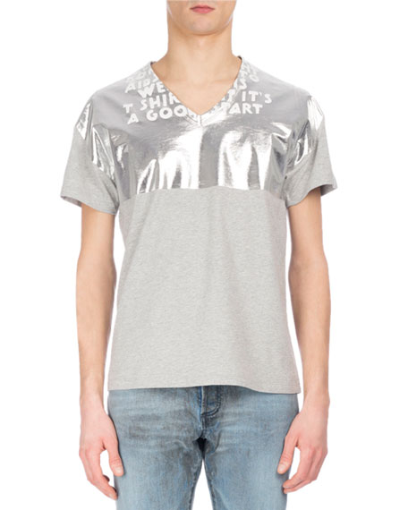 Maison Margiela AIDS Awareness Metallic & Slub V-Neck