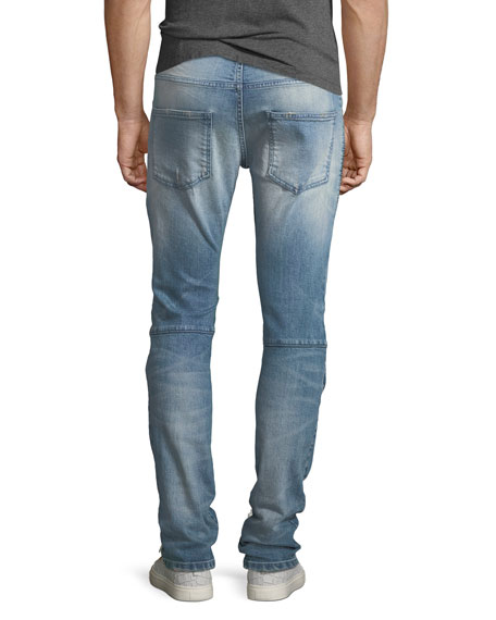 Distressed Biker Moto Jeans
