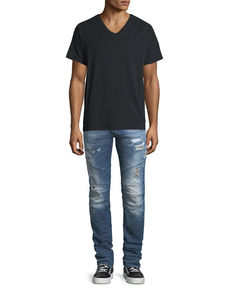 Distressed Skinny Moto Jeans, Darker Blue