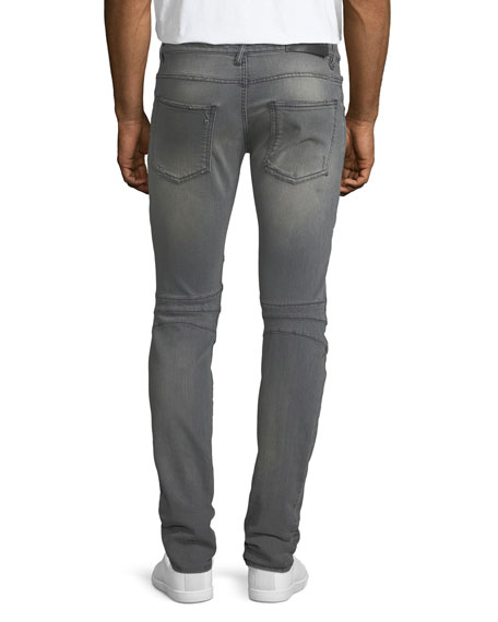 Distressed Skinny Moto Jeans, Faded Black