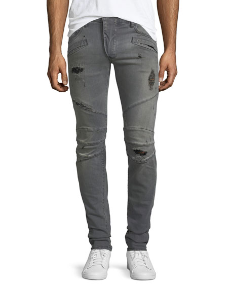 Pierre Balmain Distressed Skinny Moto Jeans, Faded Black
