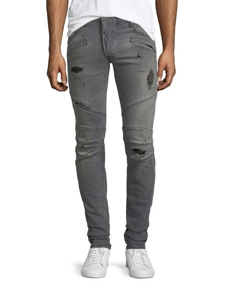 Pierre Balmain Distressed Skinny Moto Jeans, Faded Black