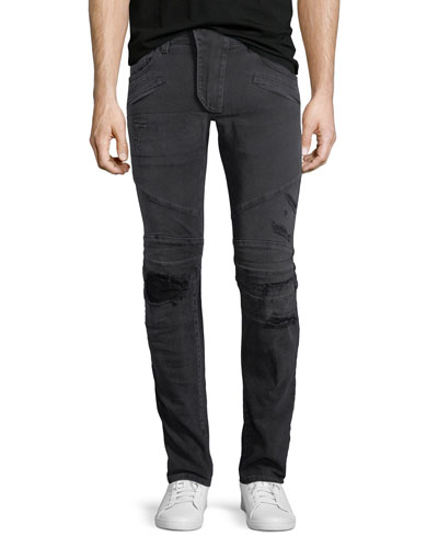 Distressed Skinny Moto Jeans, Black