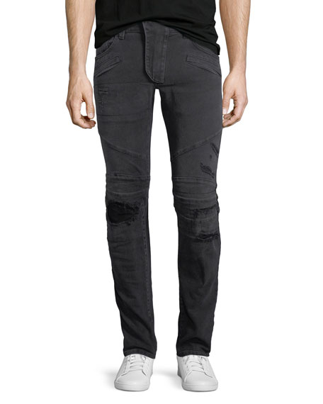 Pierre Balmain Distressed Skinny Moto Jeans, Black