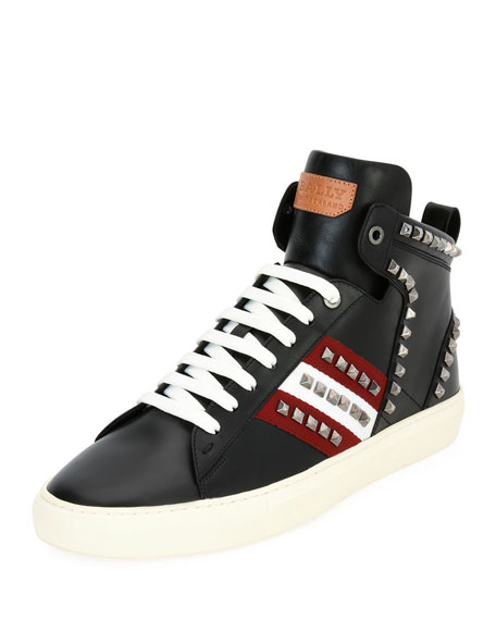 Bally Hedern Studded Leather High-Top Sneaker