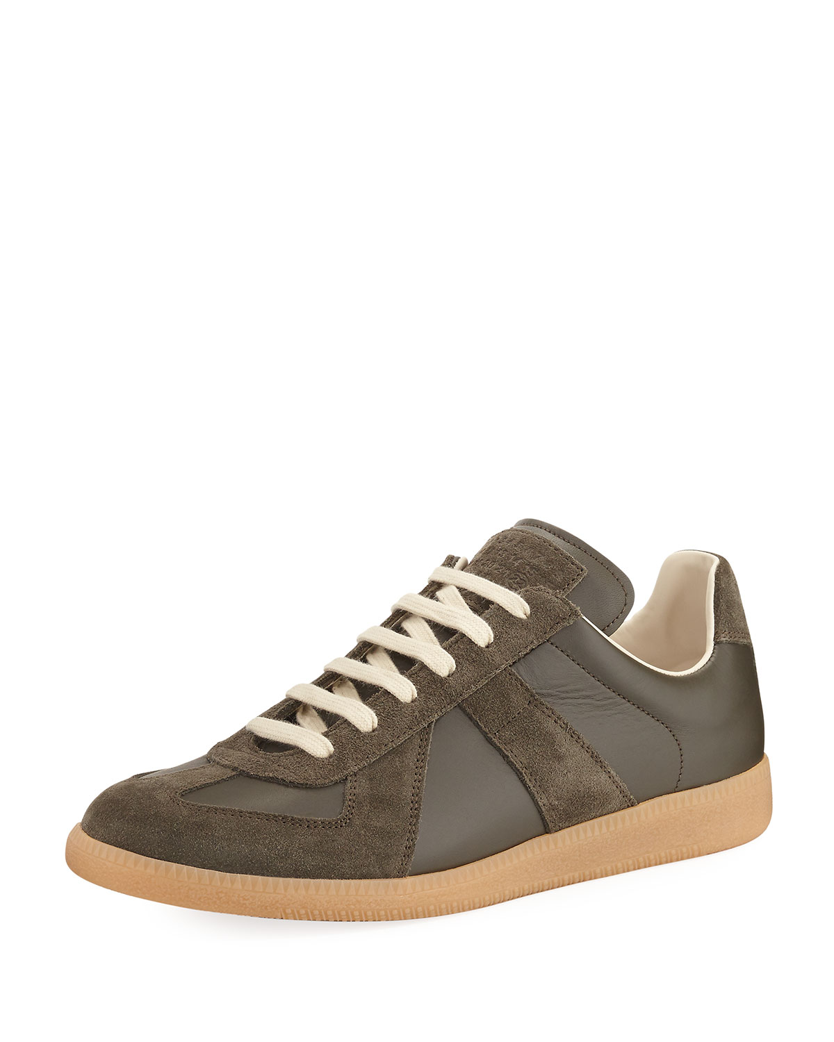 Men's Replica Leather & Suede Low Top Sneakers, Green by Maison Margiela