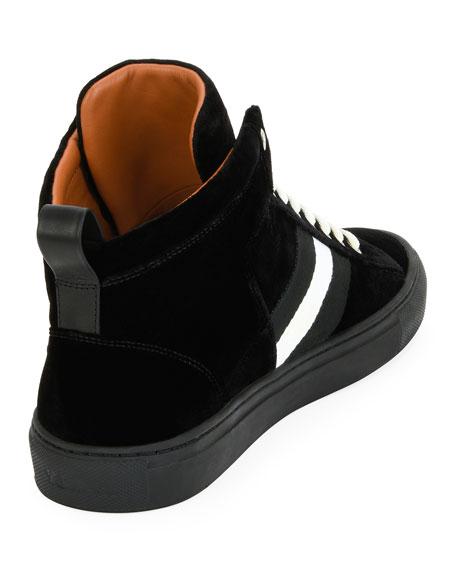 Hedern Velvet High-Top Sneaker, Black