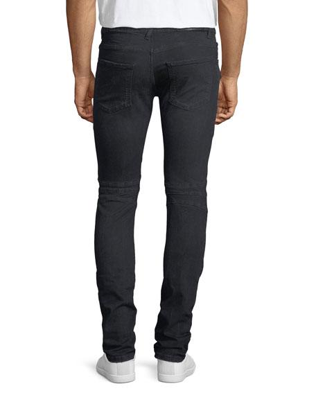 Distressed Skinny Moto Jeans, Darkest Blue