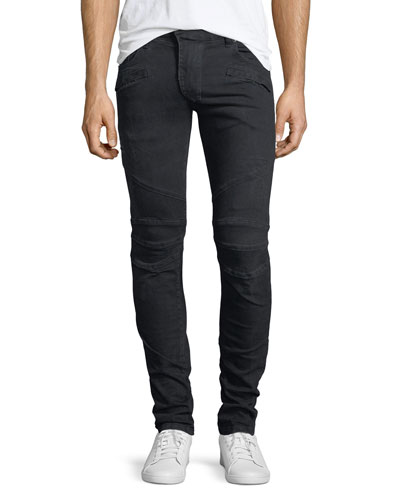 Distressed Skinny Moto Jeans, Darkest Blue