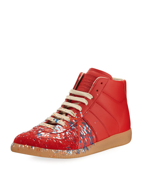 Maison Margiela Replica Paint-Splatter Leather Mid-Top Sneaker,