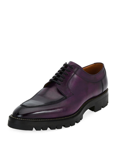 Bally Scuber Lug-Sole Leather Derby Shoe, Purple