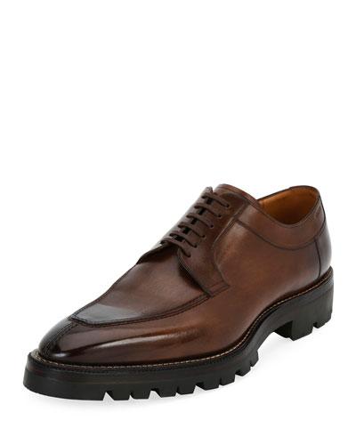 Scuber Lug-Sole Leather Derby Shoe, Medium Brown