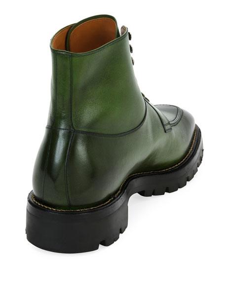 Skyman Lug-Sole Leather Ankle Boot