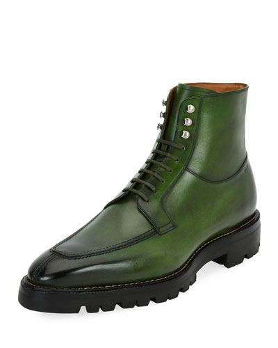 Skyman Lug-Sole Leather Ankle Boot