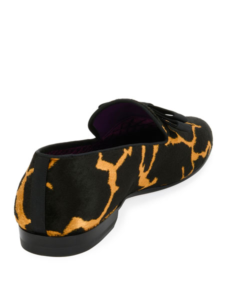 Barks Animal-Print Velvet Formal Loafer