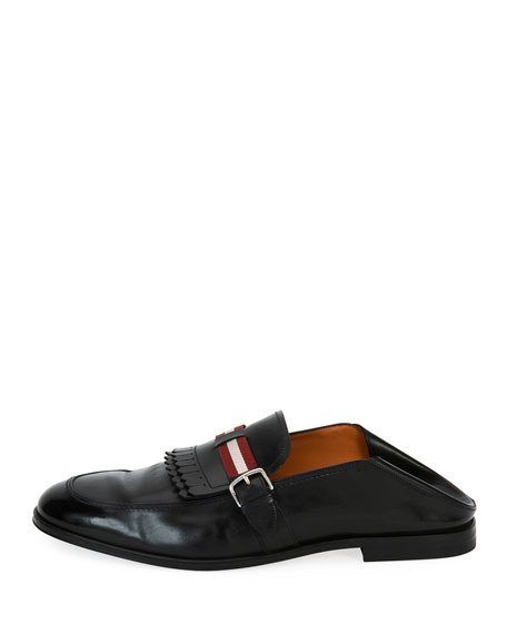 Welky Kiltie-Fringe Leather Babouche Loafer