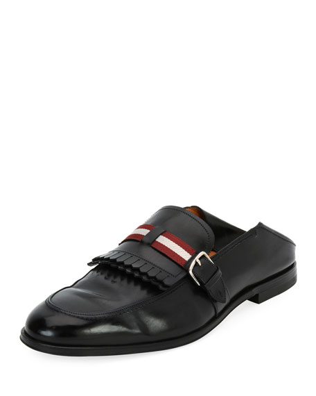 Bally Welky Kiltie-Fringe Leather Babouche Loafer