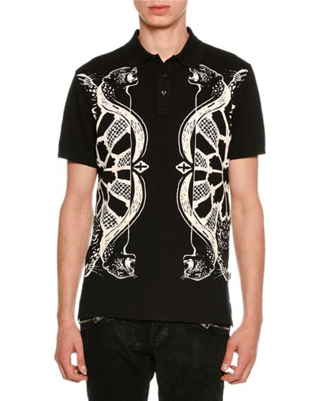 Just Cavalli Piqué Polo Shirt w/ Panther &