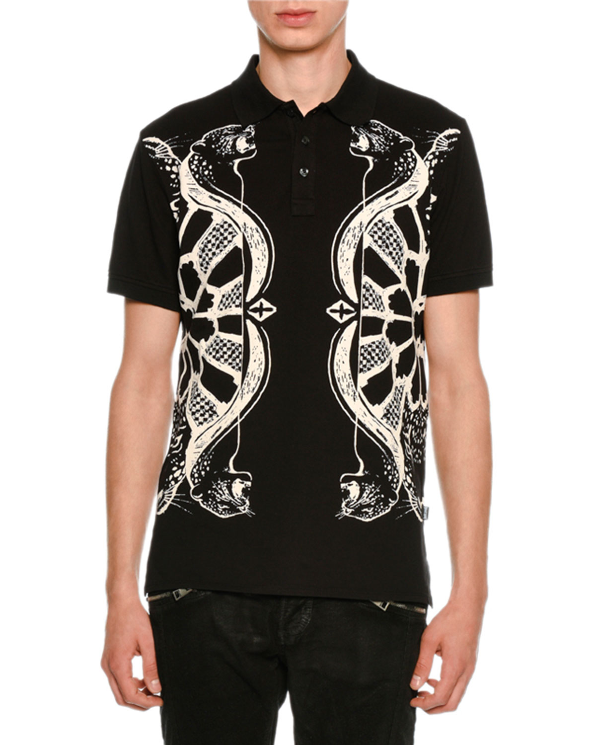 Just Cavalli Piqu Polo Shirt W Panther Bow Arrow Graphics
