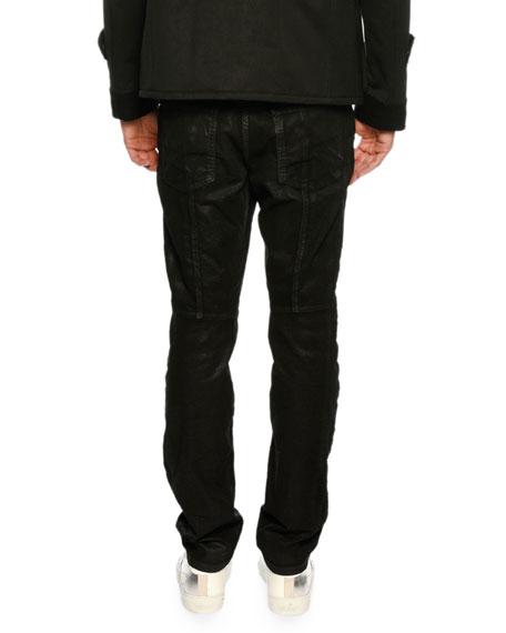 Coated Zip-Front Corduroy Pants