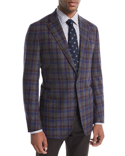 Domenico Large Check Wool-Cashmere Blazer