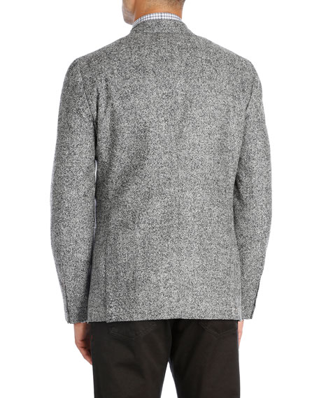 Herringbone Wool-Silk-Cashmere Sport Coat