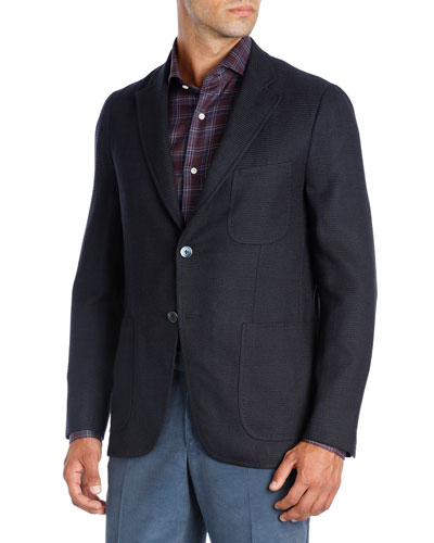 Textured Wool-Silk-Cashmere Blazer