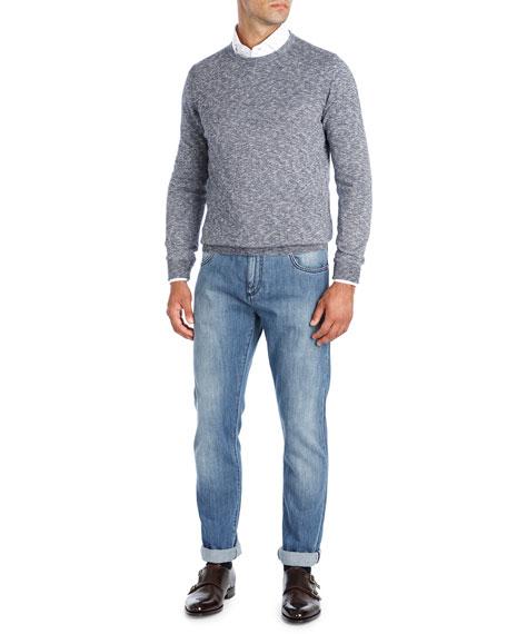 Isaia Mouline Melange Crewneck Sweater