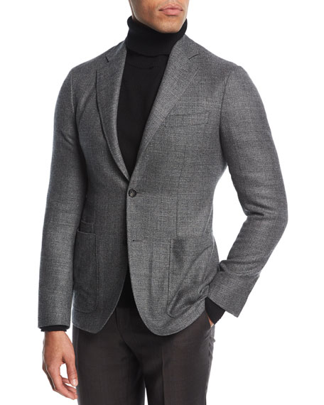 Melange Wool Two-Button Blazer