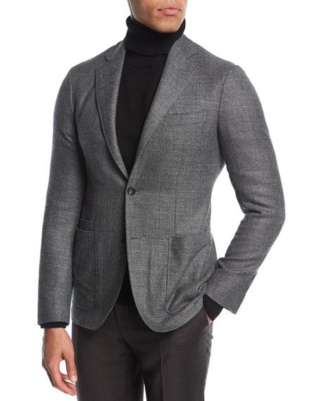 Melange Wool Two-Button Blazer