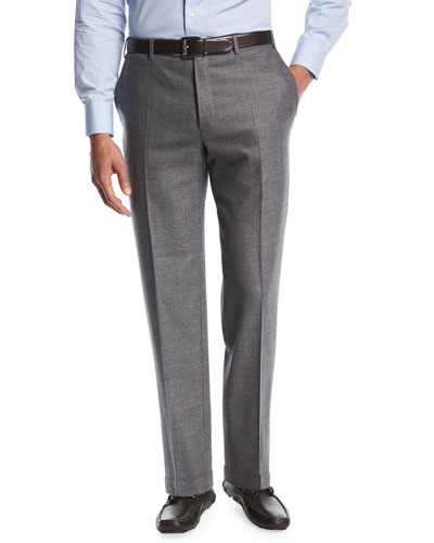 Twill Flannel Flat-Front Trousers