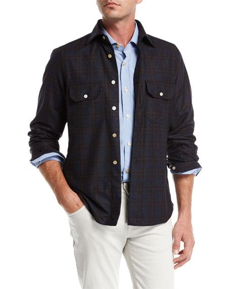 Plaid Wool-Cashmere Overshirt