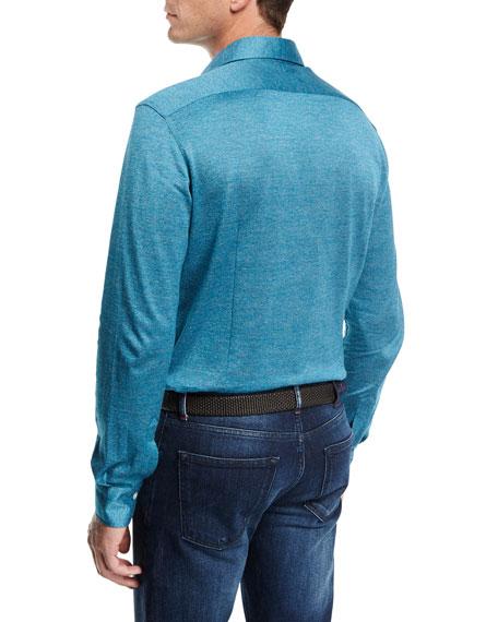Long-Sleeve Knit Cotton Shirt, Teal