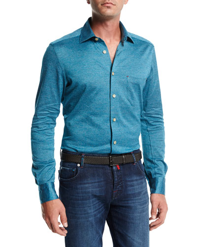 Long-Sleeve Knit Cotton Shirt, Teal