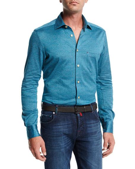 Kiton Long-Sleeve Knit Cotton Shirt, Teal