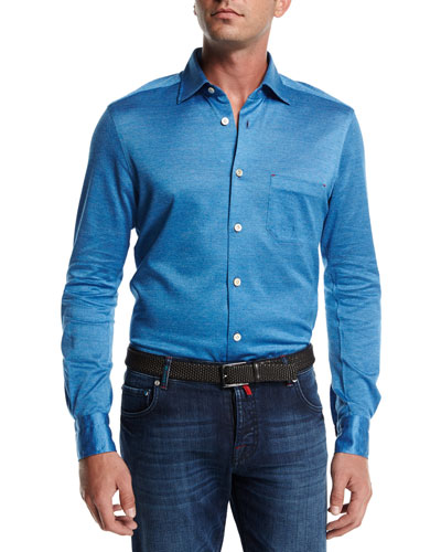 Long-Sleeve Knit Cotton Shirt, Blue