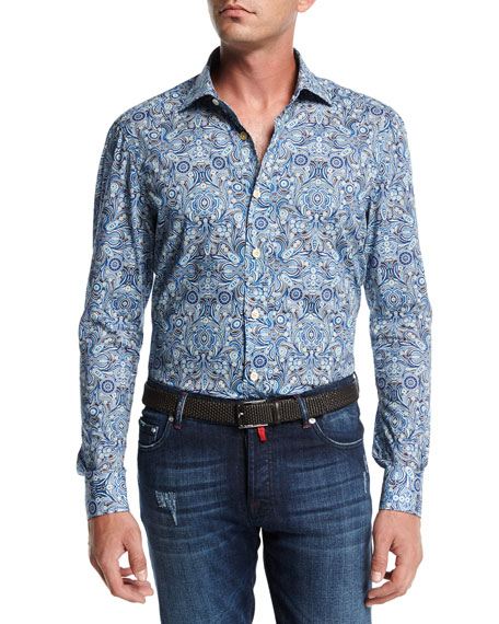 Kiton Paisley Cotton Shirt