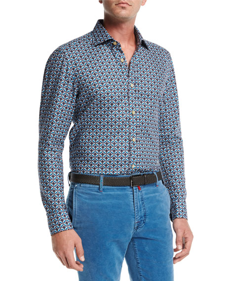 Kiton Medallion-Print Cotton Shirt