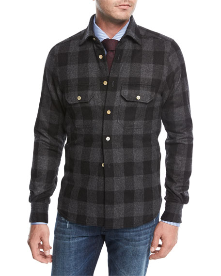 Kiton Large Check Wool-Cashmere Overshirt
