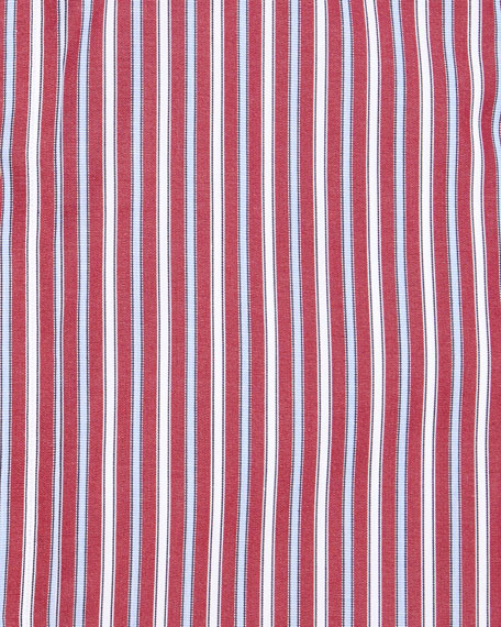 Multi-Stripe Cotton Dress Shirt, Red