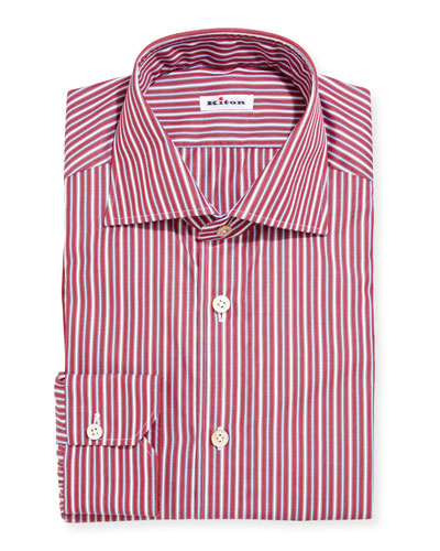 Multi-Stripe Cotton Dress Shirt, Red