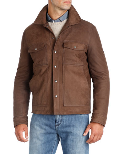 Nubuck Leather Trucker Jacket