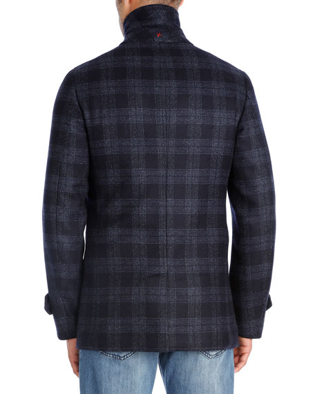 Plaid Wool Double-Breasted Pea Coat