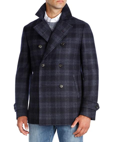 Isaia Plaid Wool Double-Breasted Pea Coat