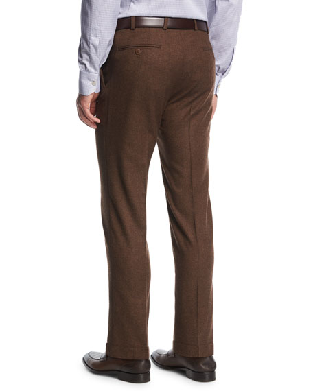 Wool-Cashmere Flat-Front Trousers, Brown