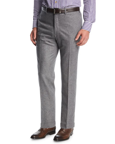 Wool-Cashmere Flat-Front Trousers, Gray