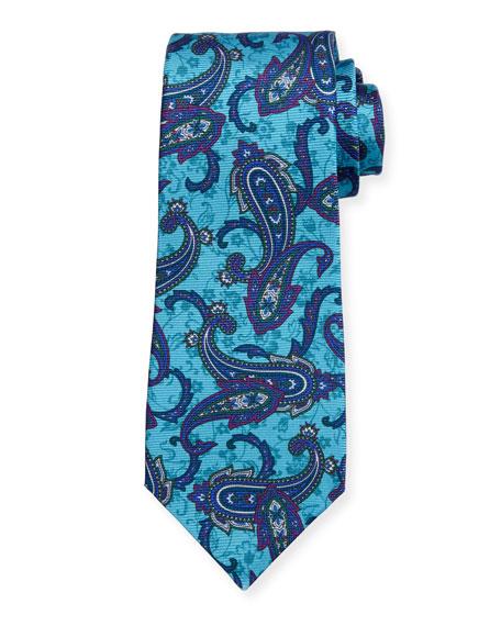 Kiton Paisley-Print Silk Tie, Blue